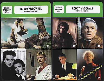 RODDY McDOWALL Film Star FRENCH BIOGRAPHY PHOTO 2 CARDS
