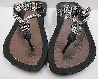 bdf1d94c09d GRANDCO SANDALS Beach Pool THONG BLACK Dressy BLING FROSTED Jeweled Flip  Flops