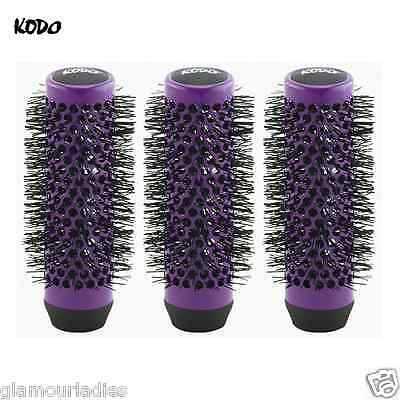 3 x Kodo Lock and Roll Spare Replacement Hair Brush Heads Purple 35mm Spares