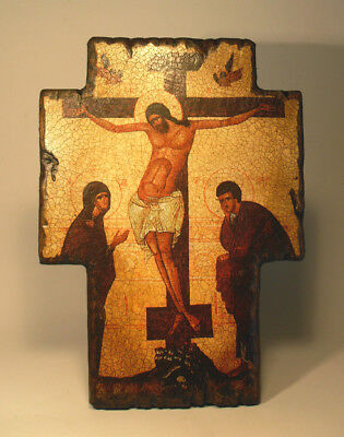Handmade copy ancient ORTHODOX Prayer Cross ICON Crucifixion of Jesus Christ K3