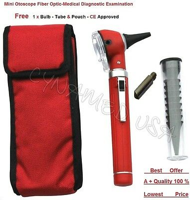 Red Mini Fiber Optic-Medical Otoscope Diagnostic Examination-CE Approved