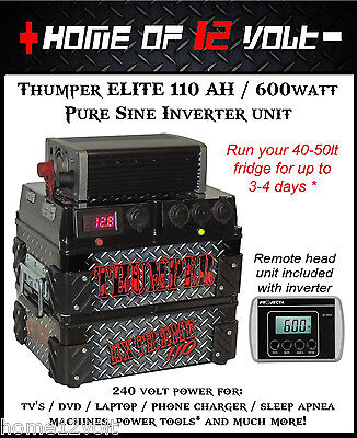 Thumper ELITE 110AH Battery Pack 12 Volt + Projecta 600watt Pure Sine Inverter
