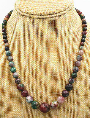 """New 6-14mm  Multicolor jade Round Gemstone Beads Necklace 18"""""""