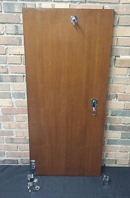 "Commerical Vintage Restroom Stall Door 1930s -Mahogany w Nickel Hardware-52""x24"""
