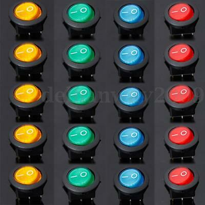 20x 12V 16A LED SWITCH ILLUMINATED ROUND ROCKER ON/OFF SPST CAR DASH BOAT LIGHT