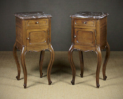 Pair of French Marble Top Oak Bedside Cabinets c.1920.