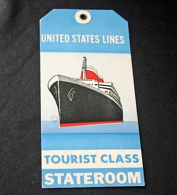 Vintage UNITED STATES LINES Tourist Class Baggage Tag