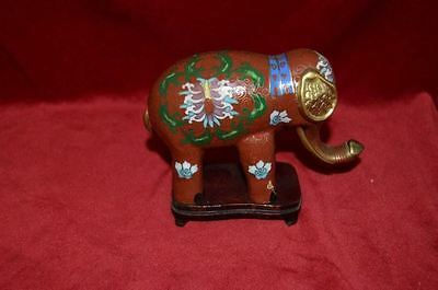 Beautiful Cloisonne Elephant with Wooden Stand
