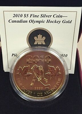 2010 $5 Pure Silver 1oz. Silver Maple in Case & COA - Canadian Olympic Hockey