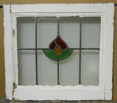 "OLD ENGLISH LEADED STAINED GLASS WINDOW Pretty Floral 20.75"" x 18.5"""