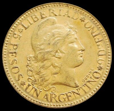 1884 Argentina Gold 5 Pesos (Argentino) Coin Extremely Fine Condition