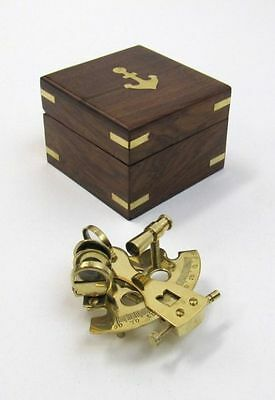 """4"""" Sextant Brass In Wooden Box ~ Nautical ~ Maritime Decor ~ Pirate ~ Astrolabe"""