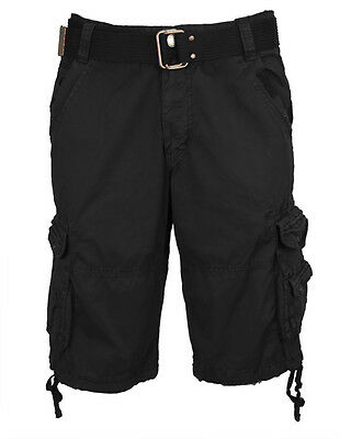 Men's Belted Military Cotton Twill Cargo Shorts