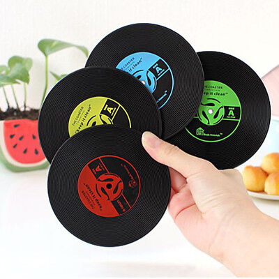 1xHome Table Cup Mat Decor Coffee Drink Placemat Vinyl CD Record Drink Coasters