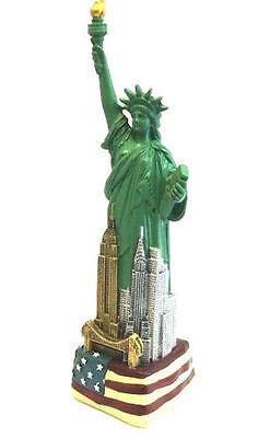 "12"" Statue of Liberty Figurine w.Flag Base and New York City SKYLines from NYC"