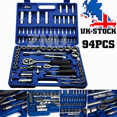 "94 PCS 1/2"" & 1/4"" SOCKET SET Screwdriver Bit Torx Ratchet Driver Kit+ FREE BOX"