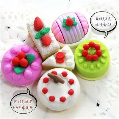 FD3876 Macarons Cake Dessert Eraser Rubber Pencil Stationery Child Gift Toy 4PC♫