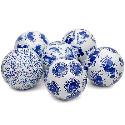 Set of 6 Blue and White Decorative 4-inch Porcelain Balls (China)