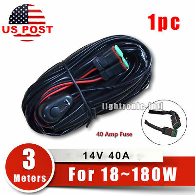 40A Off-Road LED Light Bar Wiring Harness Kit Relay & ON/OFF Switch for 2 lights