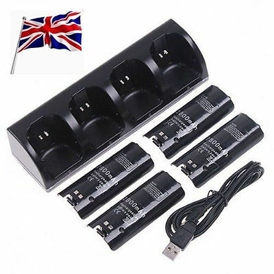 4X Battery Black For Nintendo WII Remote Controller Dual Dock Charger Station