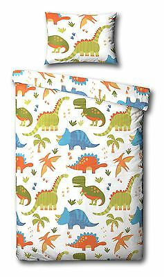 White, Blue, Orange Dinosaurs Cot Bed / Junior Bed Duvet Quilt Cover Bedding Set
