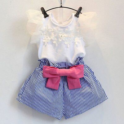 2PCS Toddler Kids Baby Girls Outfit Clothes T-shirt Tops+Striped Short Pants Set