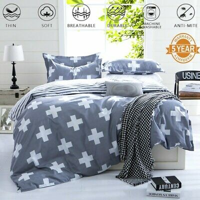 Cross Duvet Doona Quilt Cover Set King/Queen/Single Size Pillow Cases Bed Covers