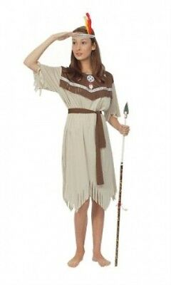 Adult Ladies Indian Princess Costume for Wild West Native Fancy Dress APPROX UK