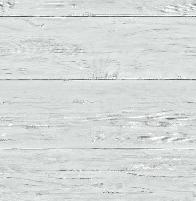 "Boards Ship-lap 33' x 20.5"" White Washed Wood Wallpaper Roll"