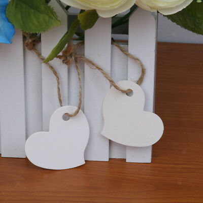100 Heart Shape Blank Paper Gift Tags White Label Luggage Wedding + Strings