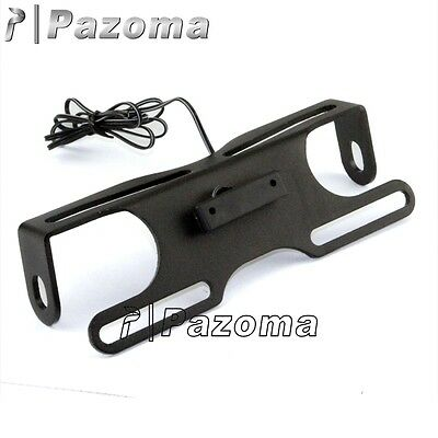 Motorcycle universal tail tidy number plate holder rsend & led plate light black