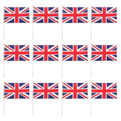 British Flag Union Jack National Flags Hand Waving Banners With Poles 12Pcs