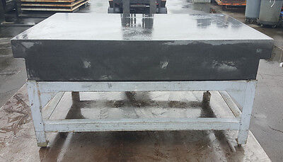 "72"" x 48"" x 12"" Thick Black Granite Surface Plate – 2 Ledge - w/ Mobile Table"