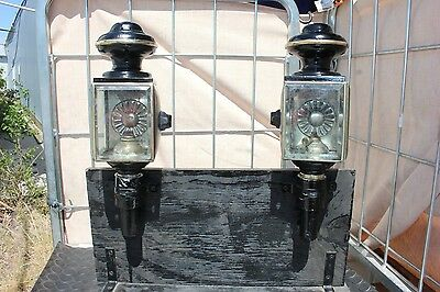 ~ 33-36  Pair of antique post mount oil burning horse drawn carriage lamps