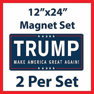 "TWO - Donald Trump for President MAGNETIC Car Sign - 12""x24"""