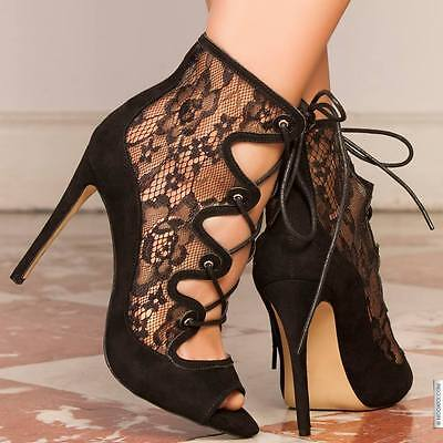 Sexy Scarpe Pump Decolletes Pizzo Lace Up Fetish Heel Tacco 39