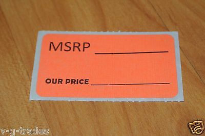 LOT 1000 ORANGE MSRP OUR PRICE Sales Price Labels Stickers Tags Retail Store