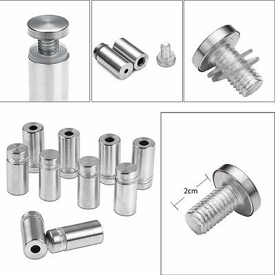 10x Stainless Stand off Bolts Mount Standoffs Sign Advertisement Fixings 12x25mm