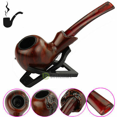 Durable Wooden Enchase Smoking Pipe Tobacco Cigarettes Cigar Pipes Gift + Holder