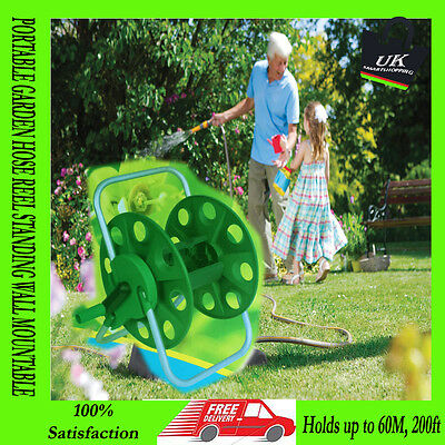 Portable Hose Reel Garden Watering Pipe Cart Free Standing Compact Winder 60M