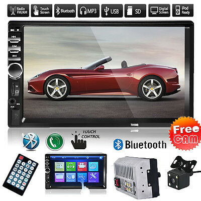 7'' 2DIN Car Bluetooth Touchcreen CD MP3 MP5 Player Stereo FM/USB/SD/AUX +Camera