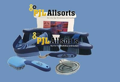 Bentley Equestrian 9 Piece Horse Brushes Grooming Set plasic box - Blue