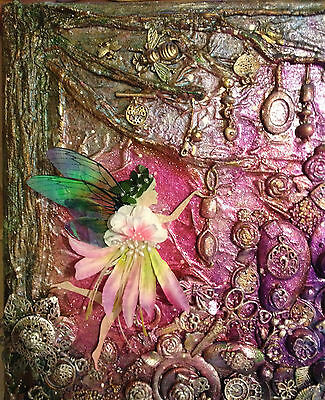 "Original, mixed media canvas ""Somewhere Safe Fairy"" - 12 x 12 - inc keys, charms"