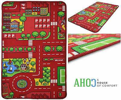 Kids Large Red City Play Mat Rug Children Non-Slip Backing Playmat Road Car Mats