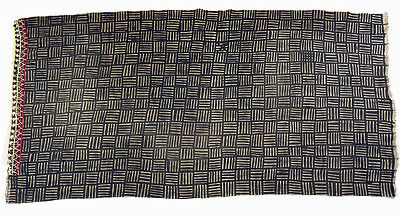 Vintage handmade Bogolan strip-woven mudcloth with crochet trim from Mali B135