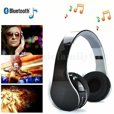 Noise Cancelling Wireless Bluetooth Stereo Headphone Headset with Call Mic 3.5mm