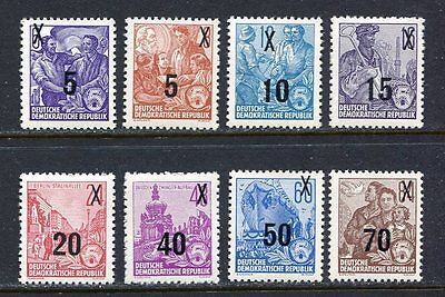 31225) DDR 1954 MNH** Redrawn Types Surcharged 8v.