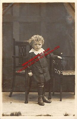 People Postcard Edwardian Boy Antique RPPC Real Photo Image  B3 023