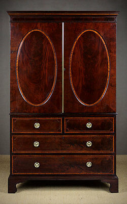 Antique George III Sheraton Style Linen Press c.1800.
