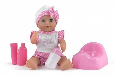 "Dolls World Baby Dribbles Drink & Wet 10"" Doll with Potty and Bottle Girls Toys"